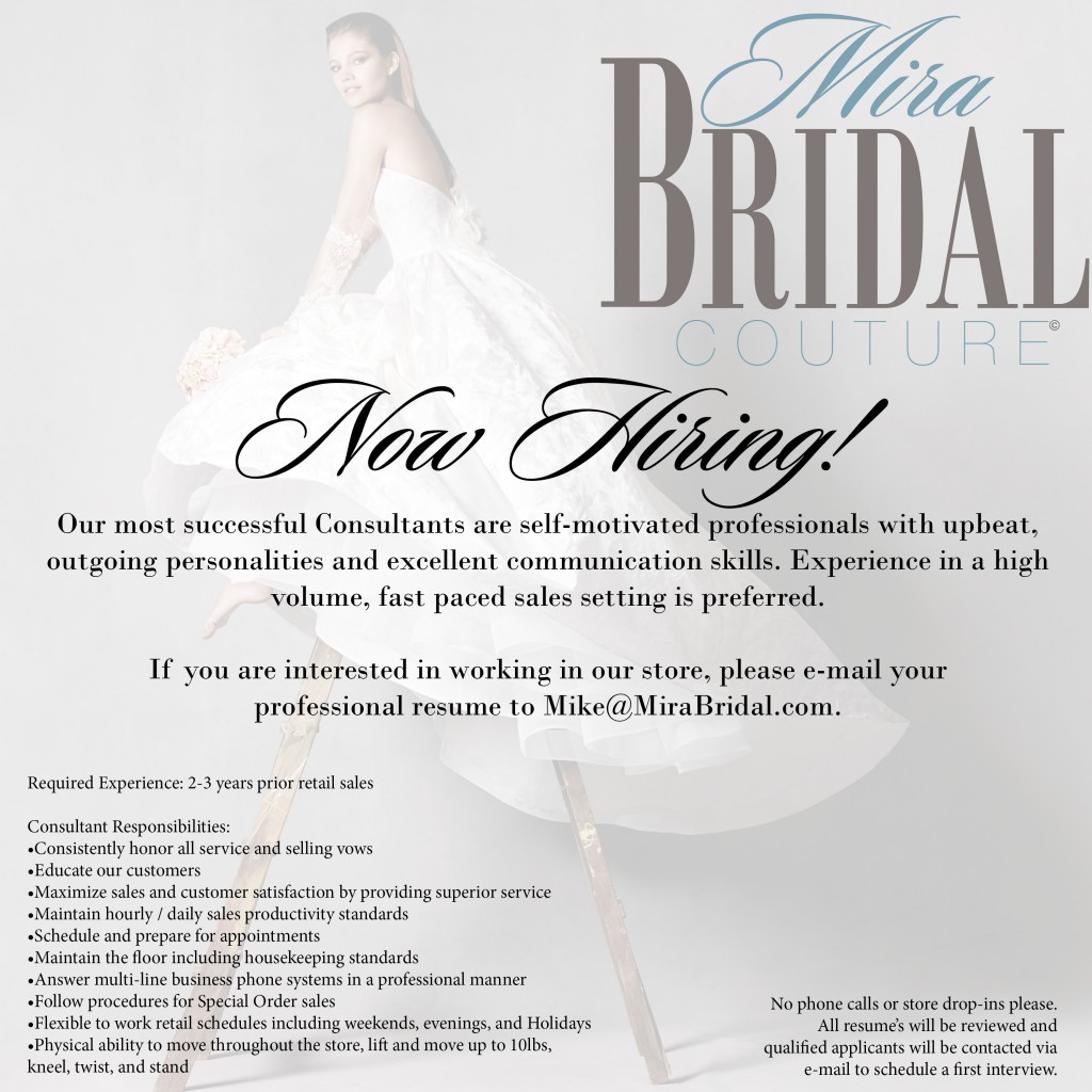 Now Hiring~Sales Consultant for Mira Bridal Couture2