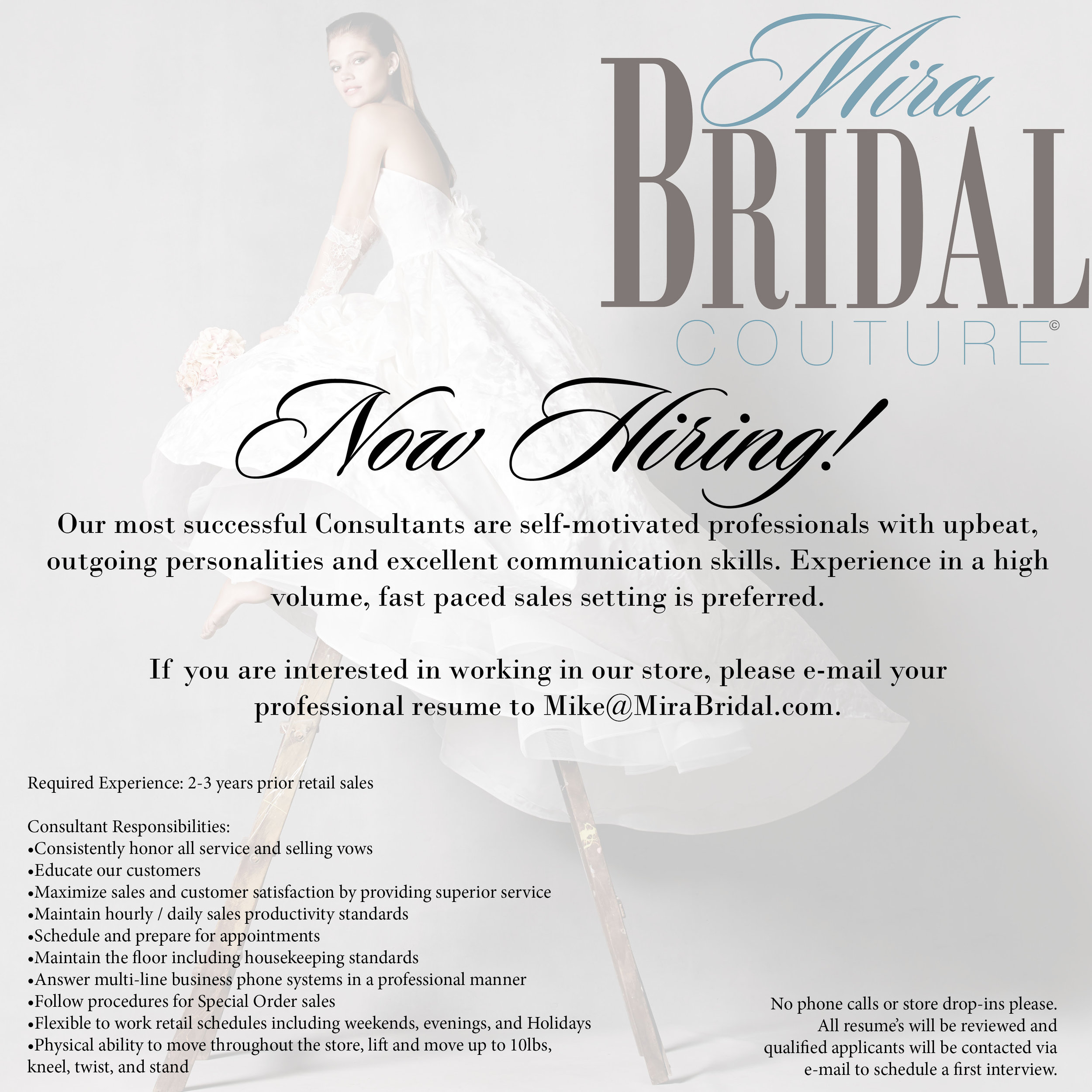 Now Hiring Mira Bridal Couture