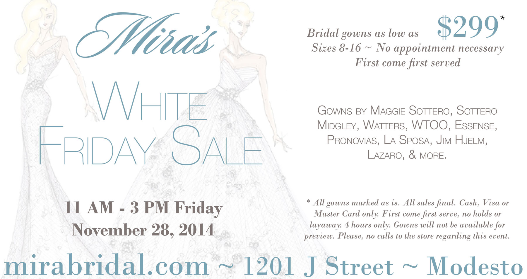 White Friday Sale with Mira Bridal Couture