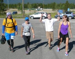 Phil, Me (hurting), Bryan, & Nicole at mile 99ish