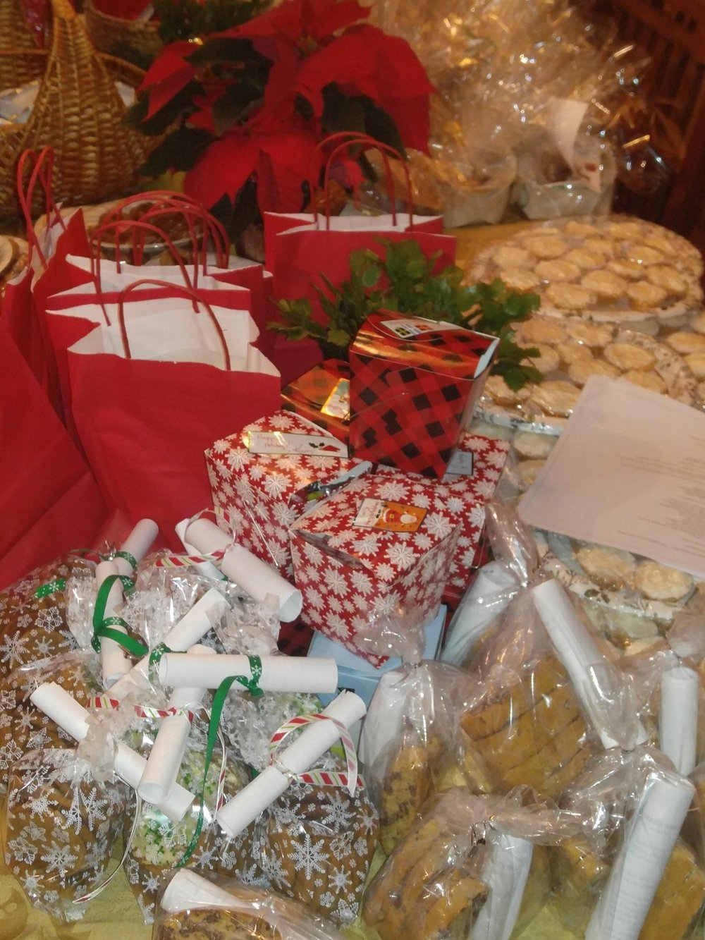 The neighborhood cookie exchange gathering (9 dozen of 9 different concoctions!)