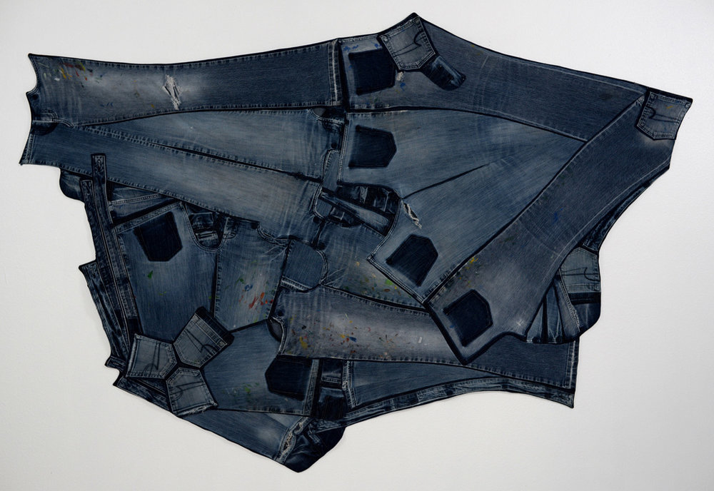 Jean Mandala,  My own worn out jeans, completely de-stitched, rearranged, and machine pieced, 2014