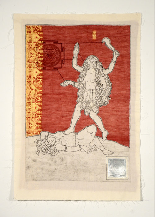 Kali , intaglio on cotton, machine piece with sari cloth, digital print on cotton, and metal flashing embossed with polymer plate, machine quilted. 2012