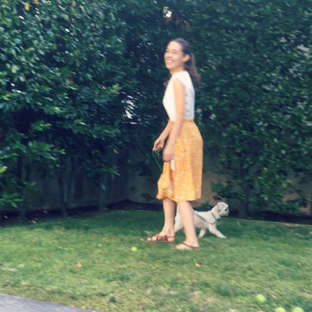Sometimes smelling ALL the enticing odors simply has to take precedence over a #memade photo shoot! Good thing I love my little fur baby enough to happily be dragged around in circles til her heart is content. It kinda shows off all the angles of my self drafted garments too 🤣 . Swipe for my favorite details: a side button closure on the top and swingy cascade on the wrap skirt. The top is made from a heavy linen scrap I got at a street fair in Paris and the skirt is a light woven rayon from @joann_stores . . . . . #sewing #handmadewarderobe #isewmyclothes #isewmyownclothes #imakemyclothes #imakemyownclothes #diy #ilovesewing #memade #memadewardrobe #memadewardrobe2018 #memadeeveryday #isew #diysewing #diyfashion #handmadefashion  #fashion #fashiondesign #fashiondesigner #fashionstudent #jayamade