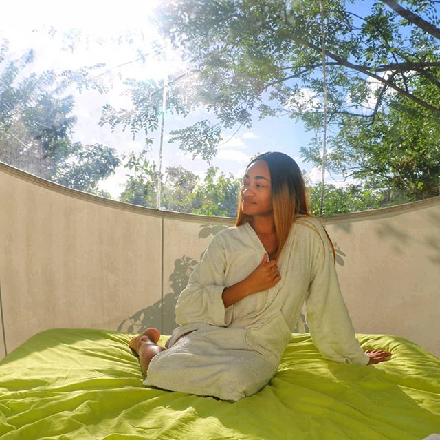 . Falling asleep under the stars and moonlit sky in a bubble dome & then waking up the next morning to tranquil nature sounds and warm sun on my face was the perfect way to start my vacation in Martinique 🥰 . The hospitality at Le Domaine Des Bulles made my stay even more amazing! . This eco-resort is family-run, primarily solar-powered and truly one of a kind . I highly recommend @ledomainedesbulles to anyone looking for a eco-friendly glamping experience in the Caribbean . . . . . . . . . . . . . . . . . . . . . . . . #tasteintravel #welltravelled #passportexpress #passionpassport #openmyworld #exploremore #bestvacations #wonderful_places #ilovetravel #travelgram #lonelyplanet #travelawesome #travelnow #traveldeeper #passportable #instatravel #stayandwander #travelon #planetdiscovery #roamtheplanet #exploringtheglobe #instapassport #doyoutravel #beautifuldestinations #travel #alwaysonthego #wanderlust #traveladdict #travelbug #traveljunkie @black_travelmovement @blacktraveller @blavity @travelnoire @millennials.abroad @blackandabroad @travelphotography @hardlyhome