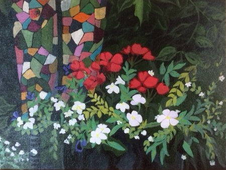 Painted outdoors in my yard during the Garden Tour, finished in the studio