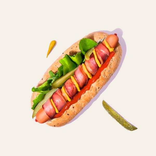 Honey Cured Bacon Hot Dog