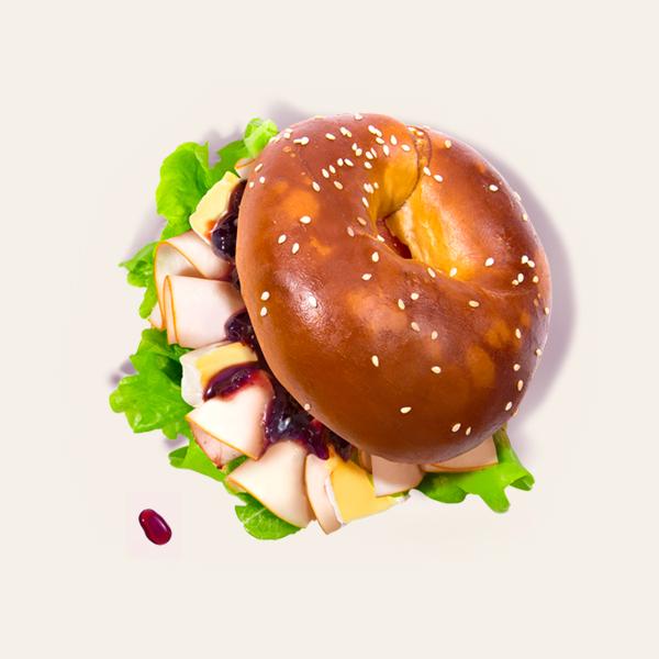Roast Turkey Breast Bagel Burger