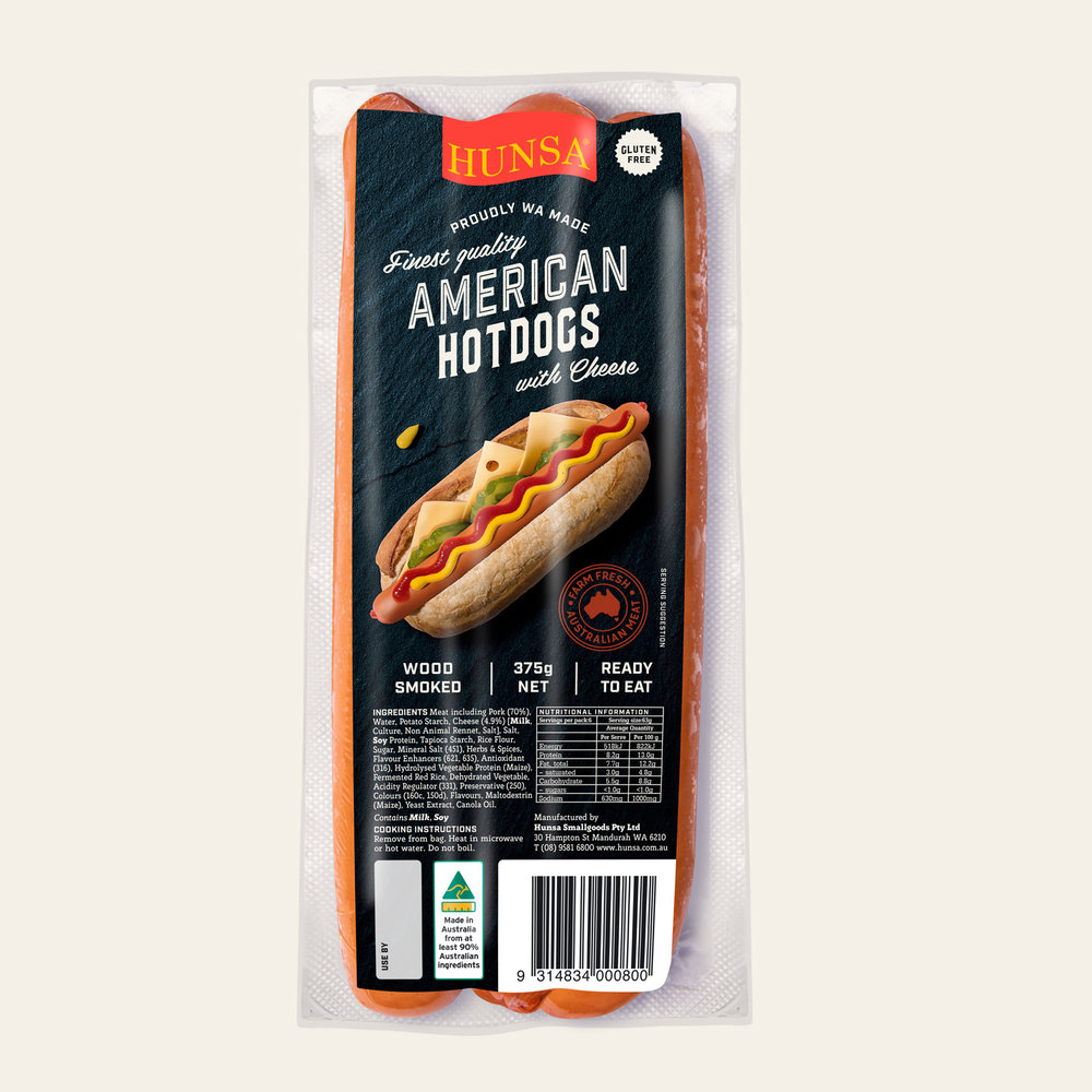 American Hot Dogs with Cheese 375g