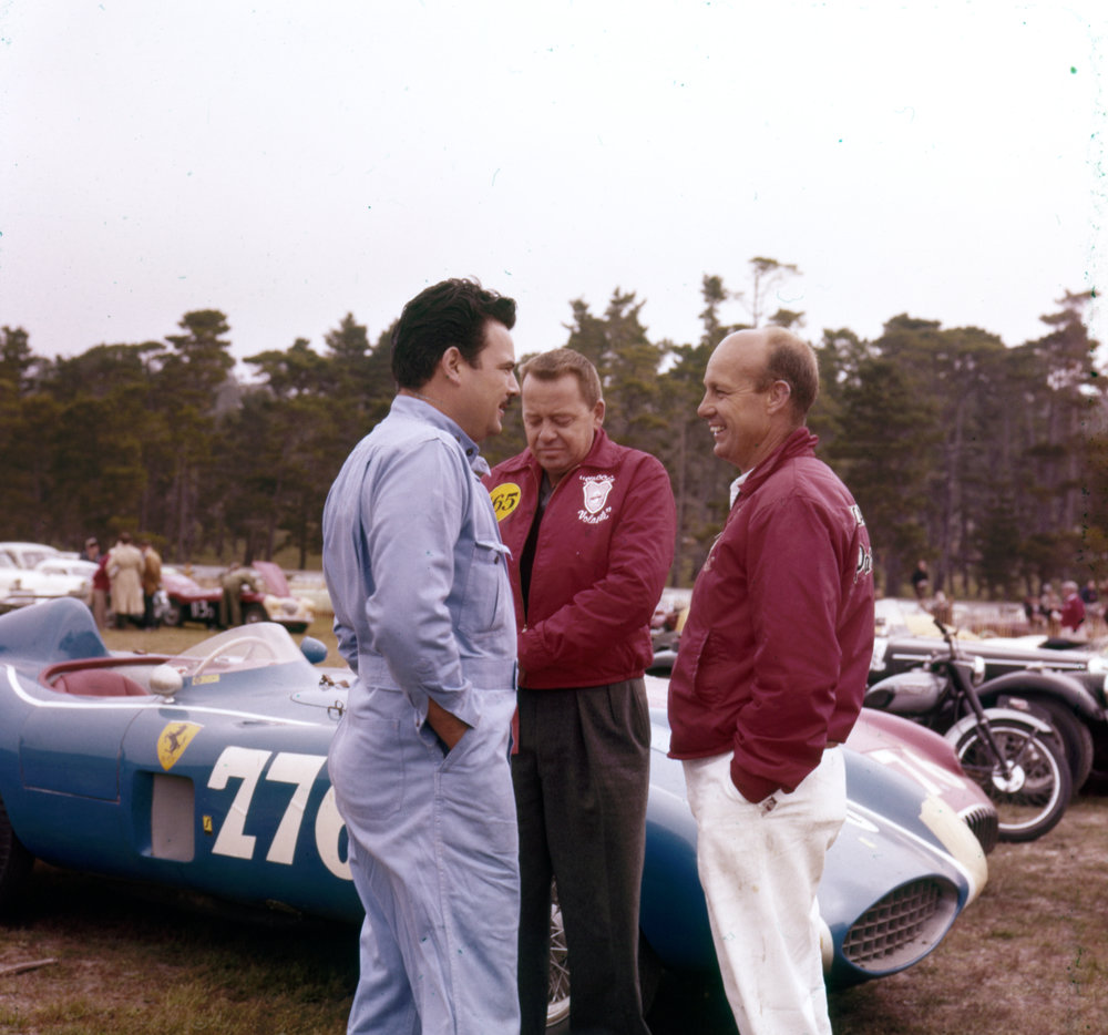Ernie McAfee with friends   Ernie McAfee chats with friends near his big six-cylinder Ferrari 121LM.
