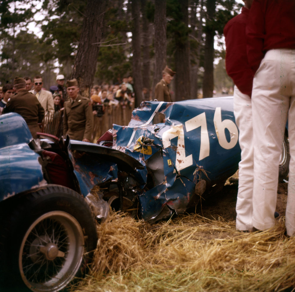 Ernie McAfee's accident   Pebble beach, April 1956: The end of racing in the Pebble Beach woods. The skid marks were 129 feet and Ernie McAfee's Ferrari 121LM hit the tree hard enough to break it in half. The tree hit the driver's door - and Ernie.