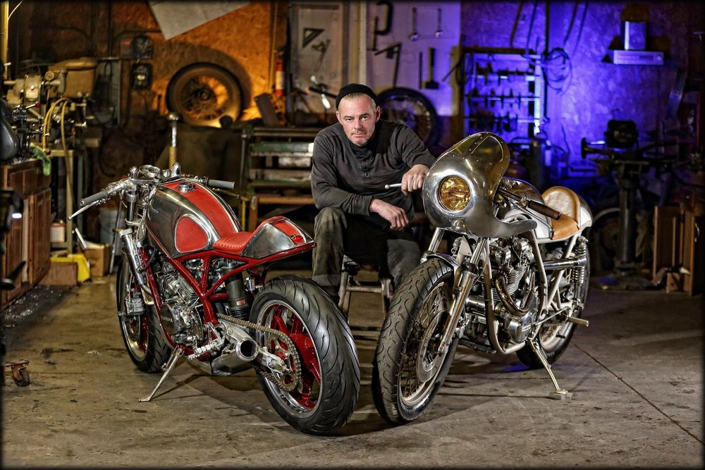 """CRAIG RODSMITH, RODSMITH MOTORCYCLES  Illinois-based Craig Rodsmith was somewhat of an """"unknown"""" until he exploded on the motorcycle scene in 2015. Rodsmith's old school and unconventional designs have opened eyes across the world,like his Moto Guzzi Dustbin which Bike EXIF called a """"Show Stopper""""at the Handbuilt Show in Austin TX in 2017. He continues to impress pundits and fans alike, both with his metalwork and his popular  Facebook videos ."""