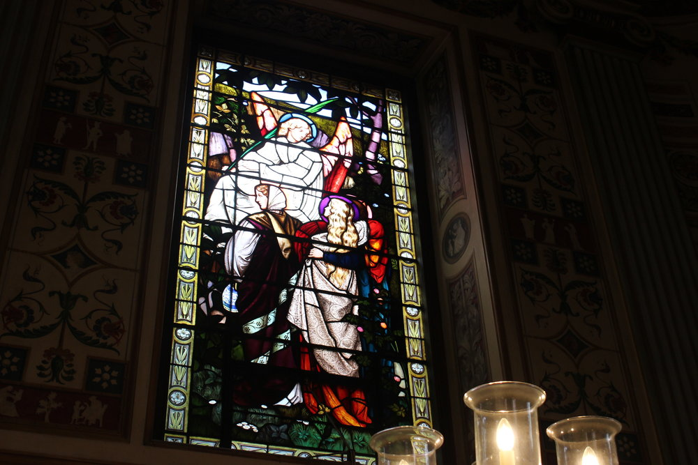 Stained glass window in Worcester College Chapel