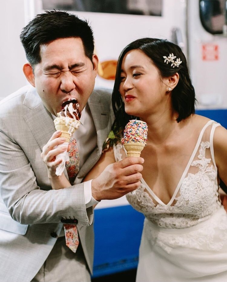 couple eating ice cream at wedding