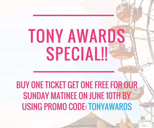 Bring a friend this Sunday to celebrate the Tony Awards!! Buy one ticket to the 3pm show on Sunday, June 10th, and get one FREE by inputting the discount code TONYAWARDS at checkout.  www.singleriderthemusical.com  See you Sunday!  #tonyawards #tony #discount #offbroadway #newmusical