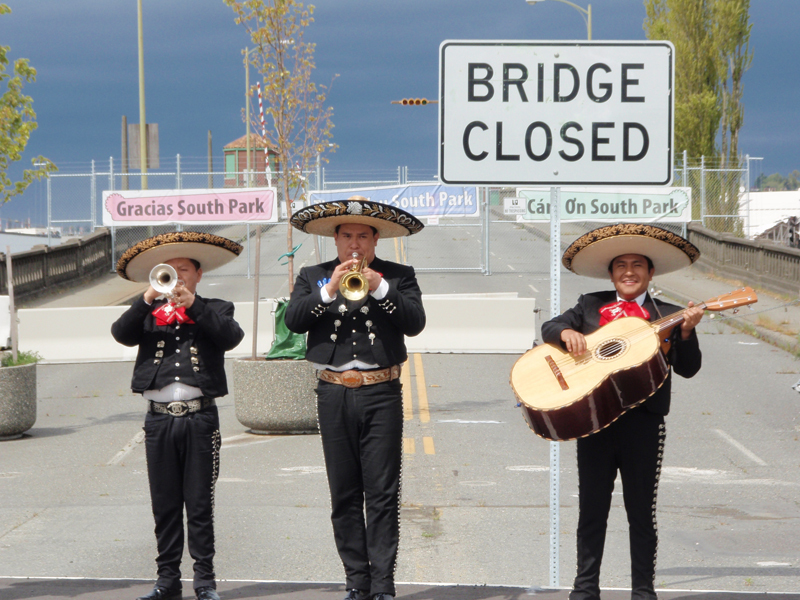 A powerful celebration of community and demonstration recognizing the closure of the South Park bridge in 2010.The bridge was the main link between the largely low-income and industrial neighborhood of South Park and downtown Seattle