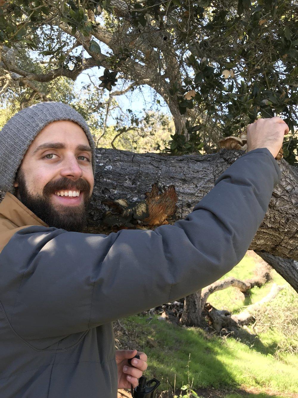 Bennett geeking out over false chantrelle mushrooms on the Pelican Trail