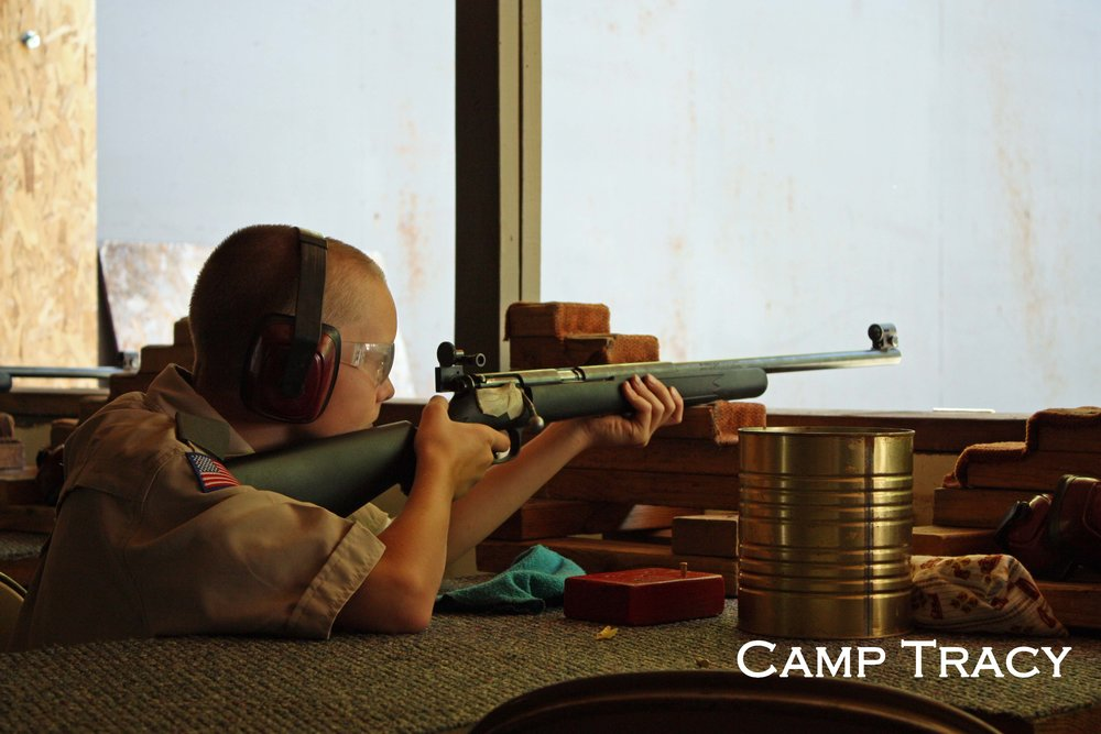 For many Scouts, shooting a .22 rifle at Camp Tracy was a new and exciting experience.