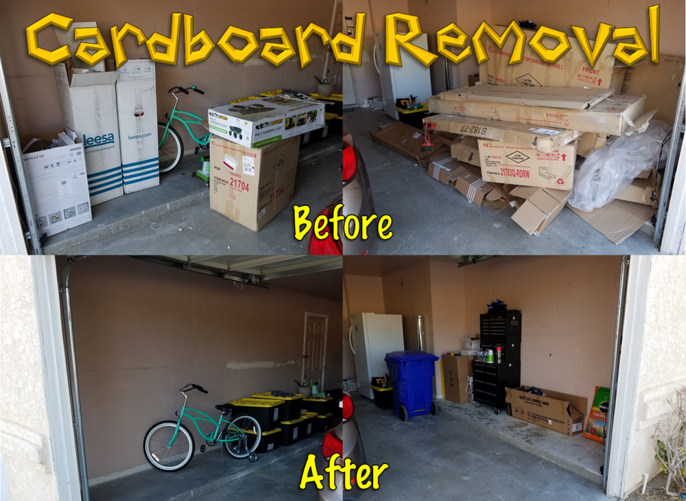 Cardboard Boxes, styrofoam, and Trash Removal