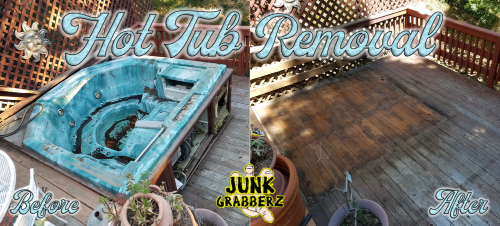 Hot Tub Removal from a raised deck.