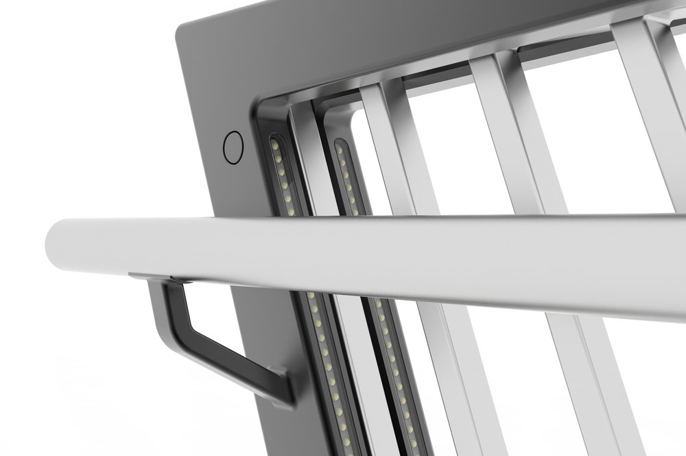 Elements: Integrated panel, railing support, LED system