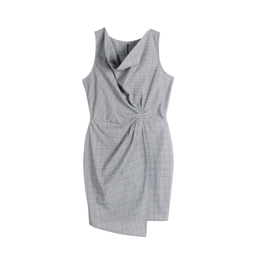 Still afraid to commit to color? Break out of your usual black looks and opt for a classic gray sheath dress instead.  Knee-Length Sheath Dress (P1299)
