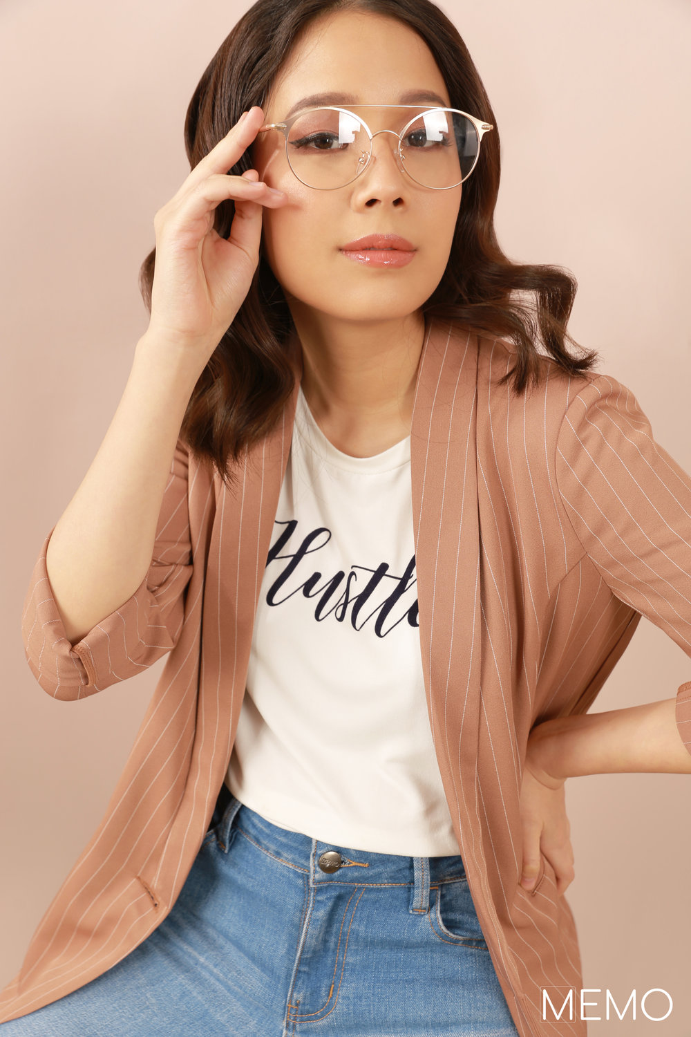 """Try to find the balance…because your passion and happiness will evolve and it will look different as you experience more."" - Hustle tee, P499Striped blazer, P1499Mid-waist jeans, P999"