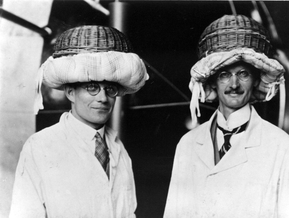Minutes before takeoff, in an attempt to stop Piccard's maiden balloon flight, the German authorities decreed that helmets must be worn. Piccard and his colleagues created their own using baskets and cushions.