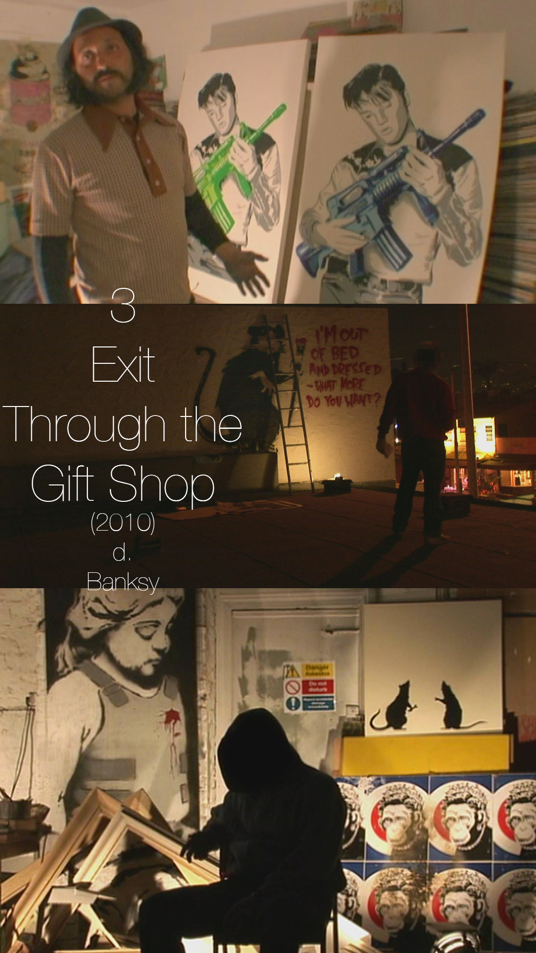 EXIT THROUGH THE GIFT SHOP has been the subject of many years worth of debate over whether it actually is a documentary or if it's just another work of street art by Banksy. This film starts in the hands of a man who wants to find out about who Banksy is, and ends up having the camera turned on himself as he decides to become a street artist. Whether or not these events actually happened or whether it was all staged, it's a great documentary.