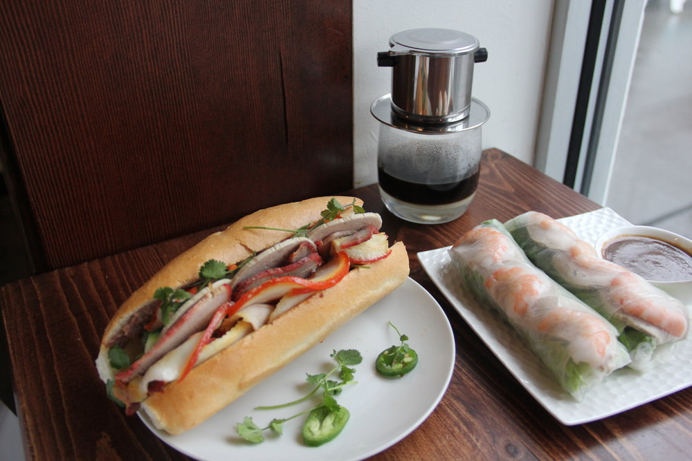 Three Little Pigs banh mi, Vietnamese iced coffee with Shrimp spring rolls