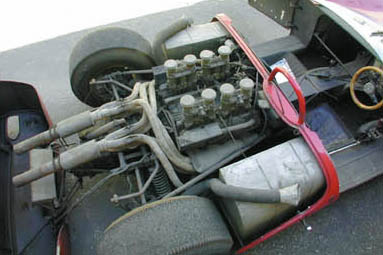 De Tomaso Sport 5000 with an aluminium custom engine and Hewland five-speed gearbox.