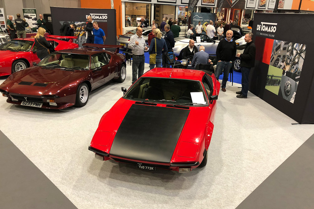The De Tomaso UK Drivers Club Stand at the NEC Classic Motor Show November 2018