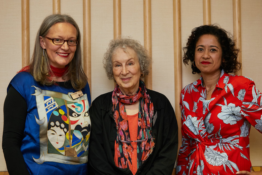 Alice Sharp, Director and Curator at Invsible Dust, Margaret Atwood, Samira Ahmed from Under Her Eye 2018 © photo credit Angela Dennis, courtesy of Invisible Dust.jpg