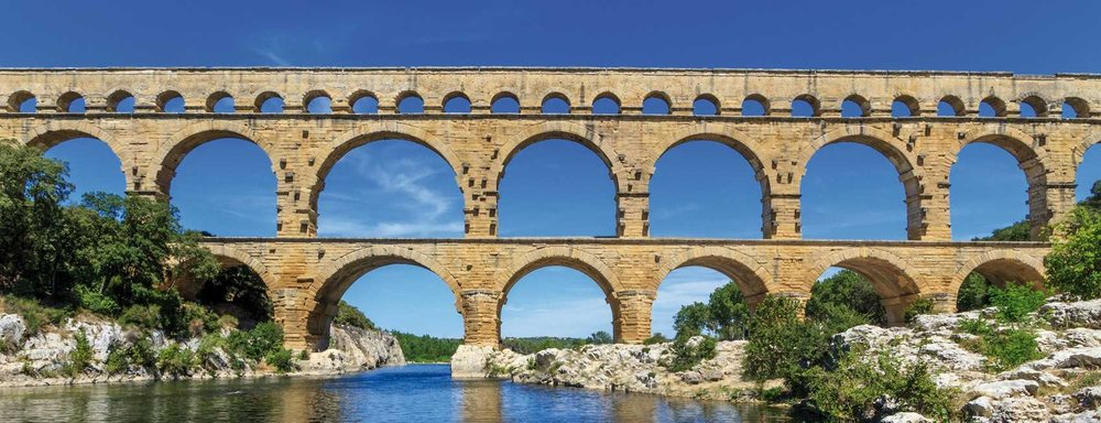 Le Pont du Gard  - This striking Roman aqueduct lies above a stony beach, great for swimming and kayaking.