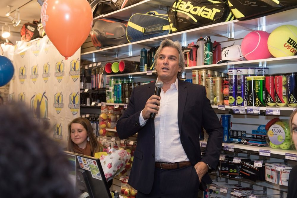 Karl Hale speaks at the CCTS Launch party at the Merchant of Tennis in Toronto