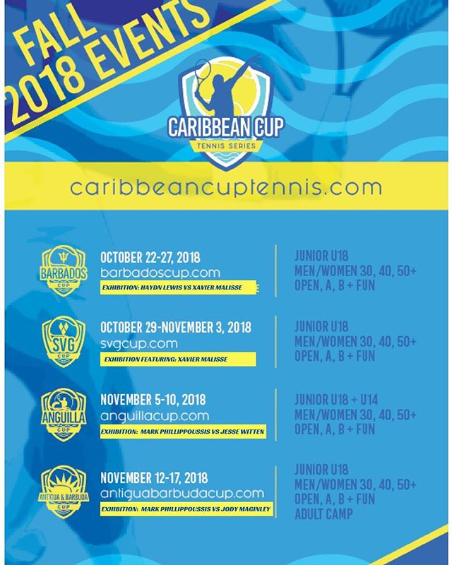 Registration is NOW OPEN for our upcoming fall tennis events! Enter on the individual websites, or visit caribbeancuptennis.com to see an overview of all the events we offer. Hope to see you in the Caribbean 😁🎾🏖 #tennis #caribbean #travel