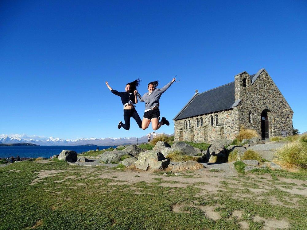 Lake Tekapo and amazing-jumping ladies by Charlotte Maple Megret