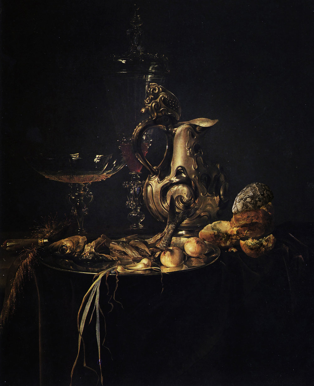 Tiny Cannibal Integrated in Still Life by Willem vanAelst