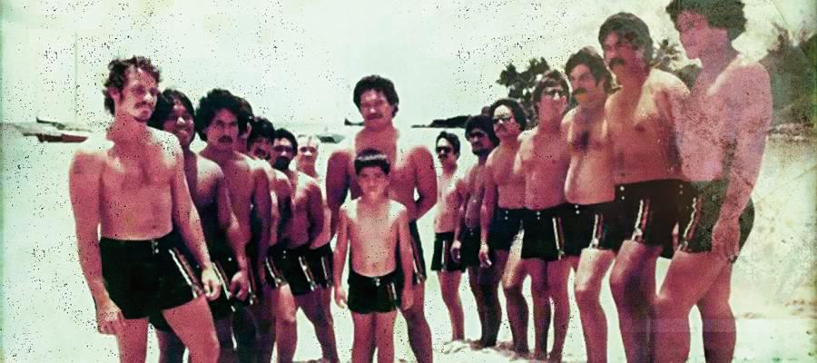 """Os Black Trunks em 1980 com um dos fundadores  """"Fast"""" Eddie Rothman -  primeiro à esquerda."""