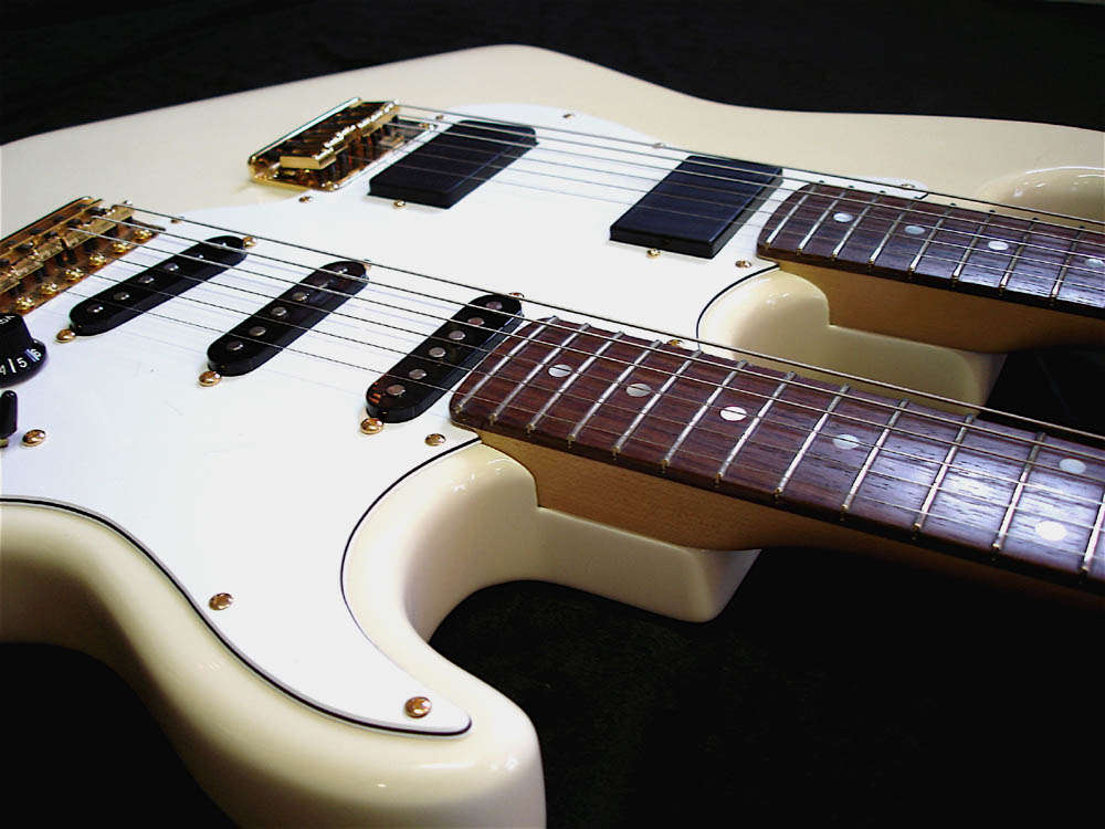 Custom White Double Neck Guitar