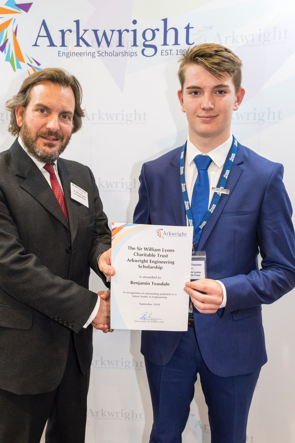Ben Teasdale receiving his certificate
