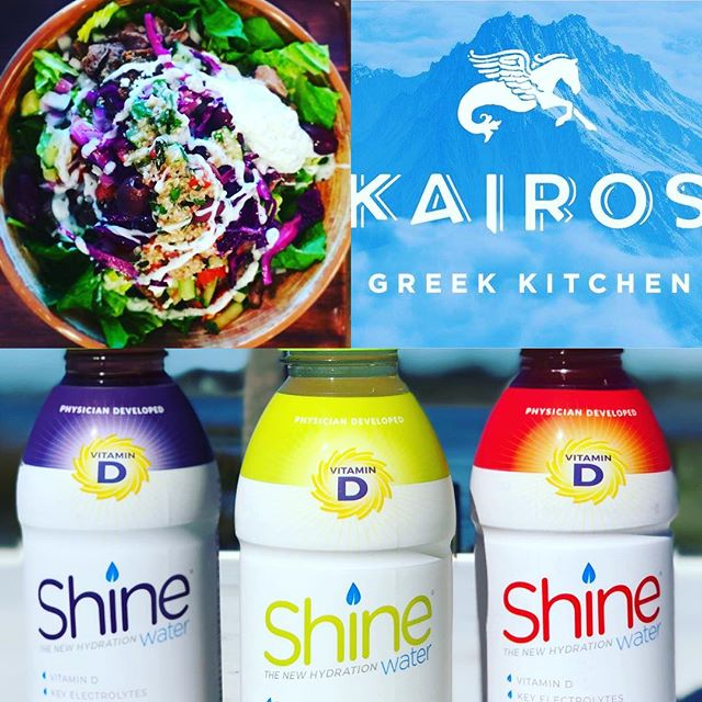 Lunchtime giveaway today!!! Come in and enjoy a tasty electrolyte and vitamin infused Shine Water with your own personally crafted Mediterranean masterpiece at Kairos Greek Kitchen (Mt Pleasant & West Ashley locations). Free bottle of Shine for the first 25 lunch guests. Simply follow @shine_water & @kairosgreekkitchen and purchase a lunch entree - Cheers! Warning: tastebud explosion possible. ☀️💦🥗 #youwereborntoshine #thenewhydration #electrolytes #vitamind #chs #mtpleasantsc #mediterraneanfood #healthylife #shineon