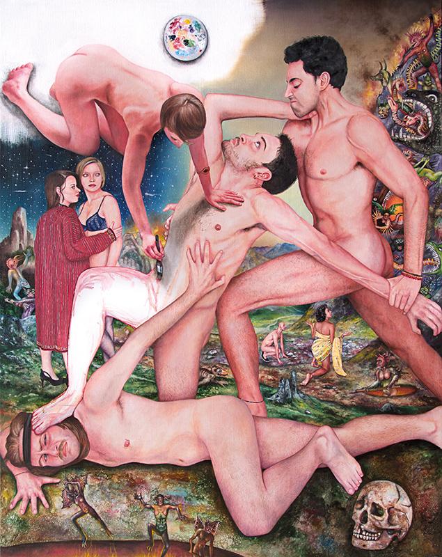 Cœurs serrés  - 2017  Oil on canvas, 162 x 130 cm