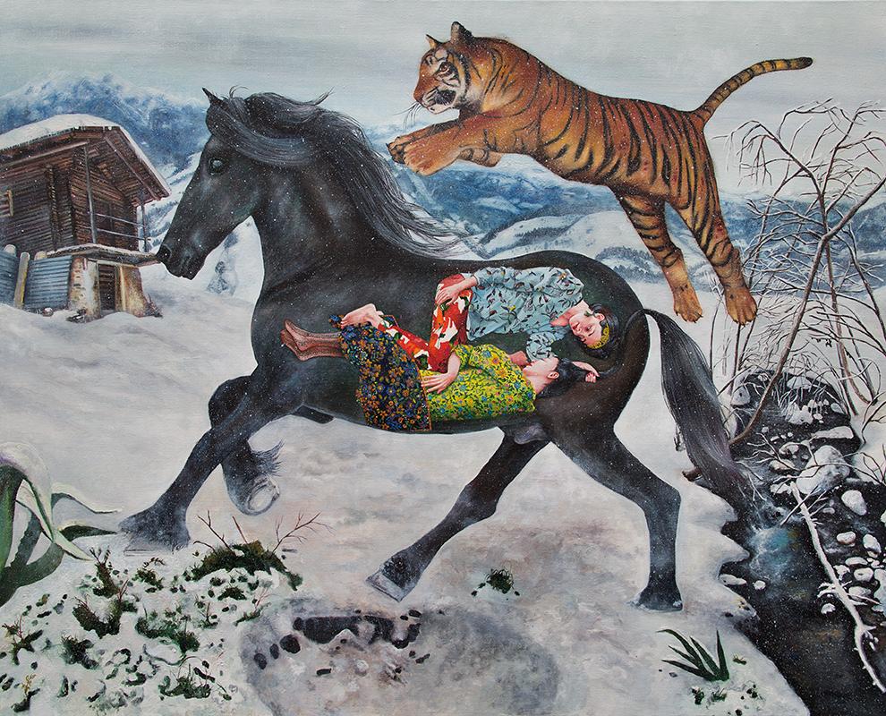 Les bohémiens en voyage - 2014  Oil on canvas,130cm x 162cm
