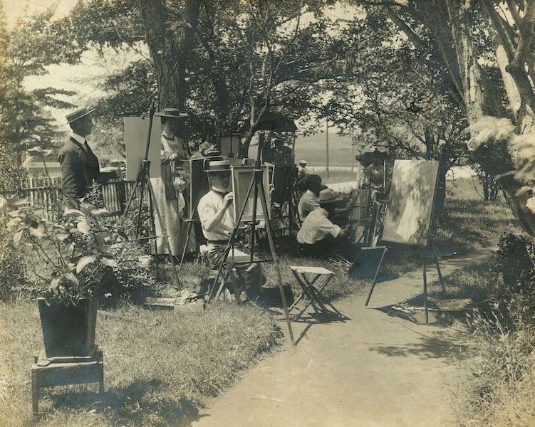 "Artists of the Lyme Art Association paint ""en plein air"" on Lyme Street, circa 1925."