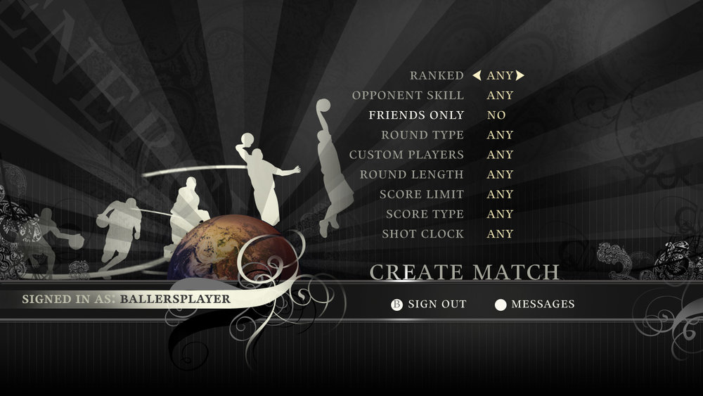 Match creation screen.