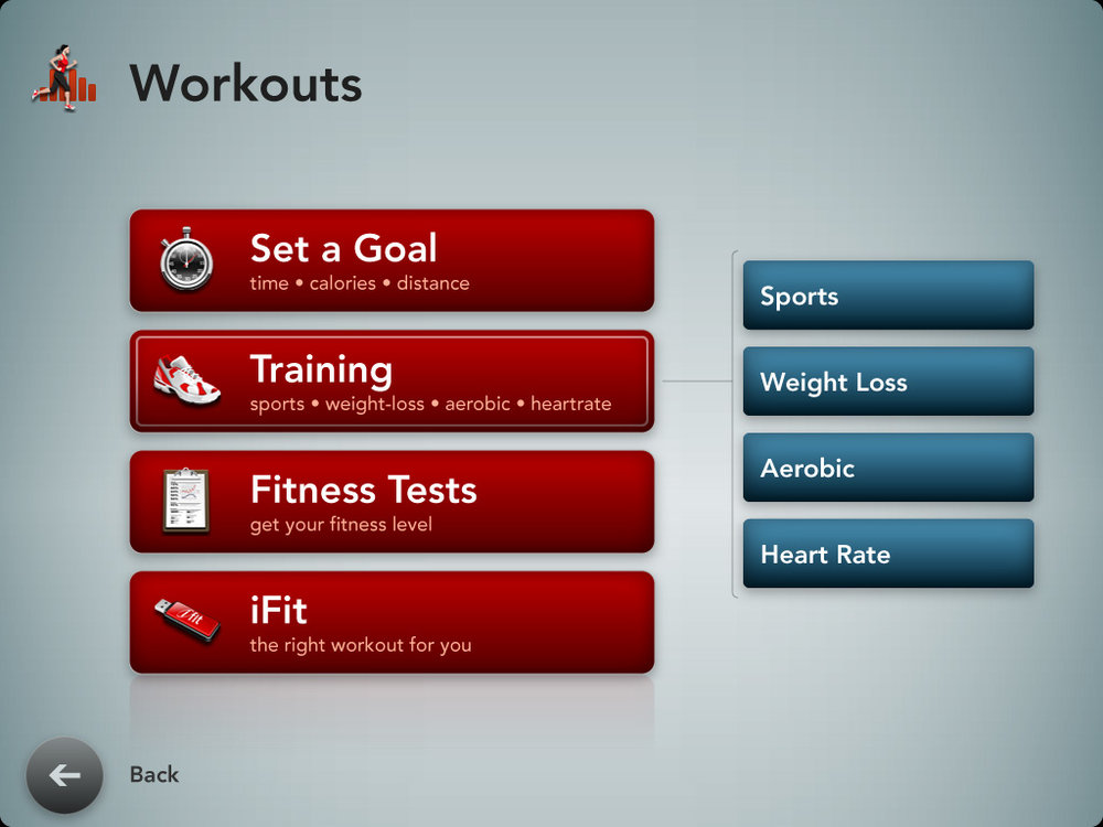 Workout Type Selection screen.