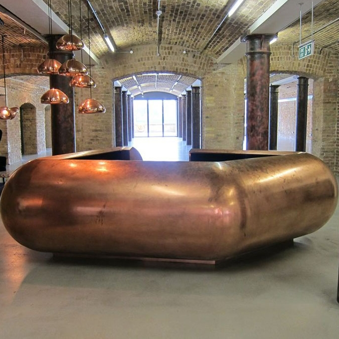 Copper Reception Desk, Wapping, London, UK