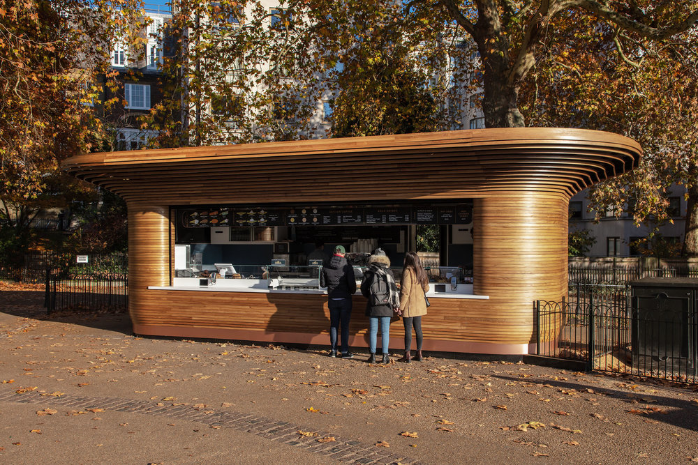 Kiosk designed by Mizzi Studio, Ritz Corner, Green Park, The Royal Parks, photo Luke Hayes