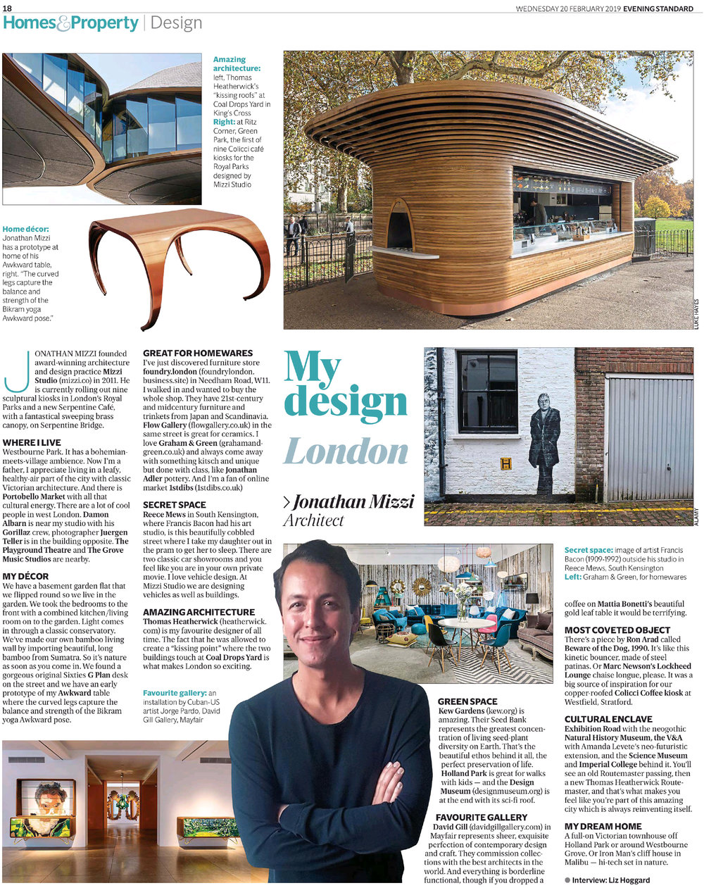 Jonathan Mizzi interview with Liz Hoggard for 'My Design London' in the Evening Standard, February 2019